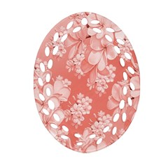 Delicate Floral Pattern,pink  Oval Filigree Ornament (2 Side)
