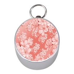 Delicate Floral Pattern,pink  Mini Silver Compasses