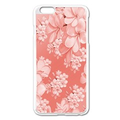 Delicate Floral Pattern,pink  Apple Iphone 6 Plus Enamel White Case