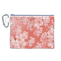 Delicate Floral Pattern,pink  Canvas Cosmetic Bag (L)