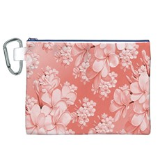 Delicate Floral Pattern,pink  Canvas Cosmetic Bag (XL)