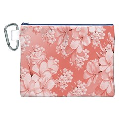 Delicate Floral Pattern,pink  Canvas Cosmetic Bag (XXL)