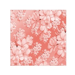 Delicate Floral Pattern,pink  Small Satin Scarf (Square)