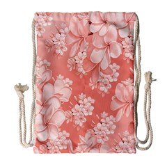 Delicate Floral Pattern,pink  Drawstring Bag (Large)
