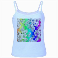Delicate Floral Pattern,rainbow Baby Blue Spaghetti Tanks