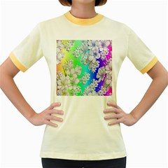 Delicate Floral Pattern,rainbow Women s Fitted Ringer T-Shirts