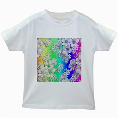 Delicate Floral Pattern,rainbow Kids White T-Shirts