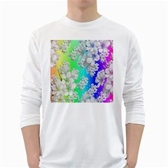 Delicate Floral Pattern,rainbow White Long Sleeve T Shirts