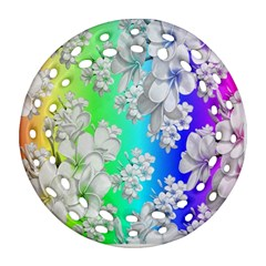 Delicate Floral Pattern,rainbow Ornament (round Filigree)