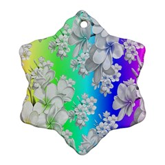 Delicate Floral Pattern,rainbow Snowflake Ornament (2-Side)