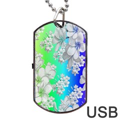 Delicate Floral Pattern,rainbow Dog Tag USB Flash (One Side)