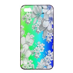 Delicate Floral Pattern,rainbow Apple iPhone 4/4s Seamless Case (Black)