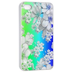 Delicate Floral Pattern,rainbow Apple Iphone 4/4s Seamless Case (white)