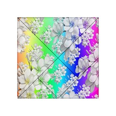 Delicate Floral Pattern,rainbow Acrylic Tangram Puzzle (4  x 4 )