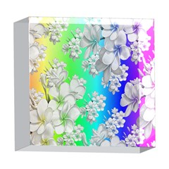 Delicate Floral Pattern,rainbow 5  x 5  Acrylic Photo Blocks