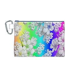 Delicate Floral Pattern,rainbow Canvas Cosmetic Bag (M)