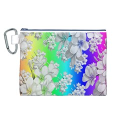 Delicate Floral Pattern,rainbow Canvas Cosmetic Bag (L)