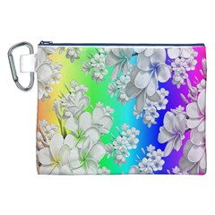 Delicate Floral Pattern,rainbow Canvas Cosmetic Bag (XXL)