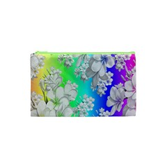 Delicate Floral Pattern,rainbow Cosmetic Bag (xs)