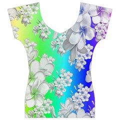 Delicate Floral Pattern,rainbow Women s V-Neck Cap Sleeve Top
