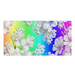 Delicate Floral Pattern,rainbow Satin Shawl