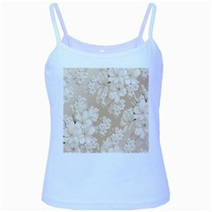 Delicate Floral Pattern,softly Baby Blue Spaghetti Tanks