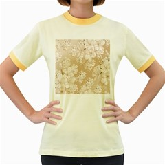 Delicate Floral Pattern,softly Women s Fitted Ringer T-Shirts