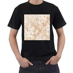 Delicate Floral Pattern,softly Men s T Shirt (black) (two Sided)