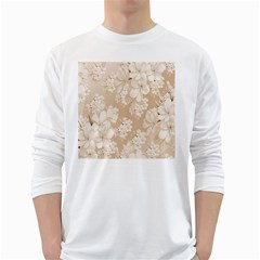 Delicate Floral Pattern,softly White Long Sleeve T-Shirts