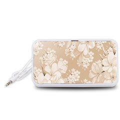 Delicate Floral Pattern,softly Portable Speaker (White)