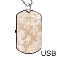 Delicate Floral Pattern,softly Dog Tag Usb Flash (two Sides)