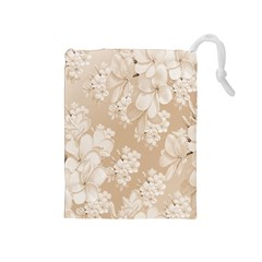 Delicate Floral Pattern,softly Drawstring Pouches (medium)