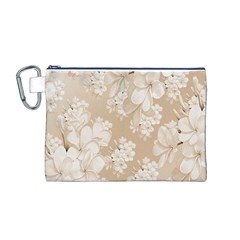 Delicate Floral Pattern,softly Canvas Cosmetic Bag (M)