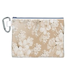 Delicate Floral Pattern,softly Canvas Cosmetic Bag (L)