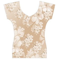 Delicate Floral Pattern,softly Women s V-Neck Cap Sleeve Top
