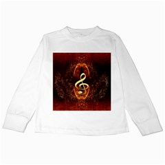 Decorative Cllef With Floral Elements Kids Long Sleeve T Shirts