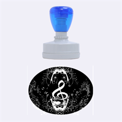 Decorative Cllef With Floral Elements Rubber Oval Stamps