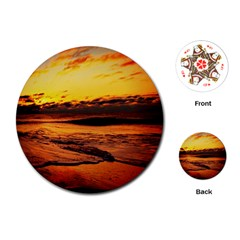 Stunning Sunset On The Beach 2 Playing Cards (round)