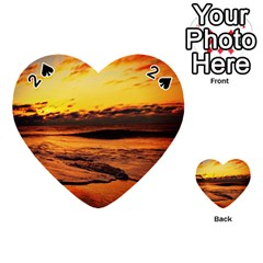 Stunning Sunset On The Beach 2 Playing Cards 54 (heart)