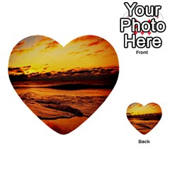 Stunning Sunset On The Beach 2 Multi-purpose Cards (Heart)