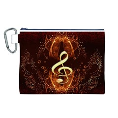Decorative Cllef With Floral Elements Canvas Cosmetic Bag (L)