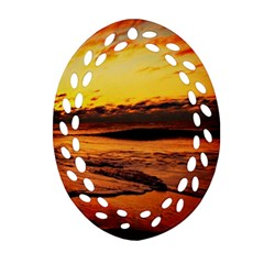 Stunning Sunset On The Beach 2 Oval Filigree Ornament (2 Side)