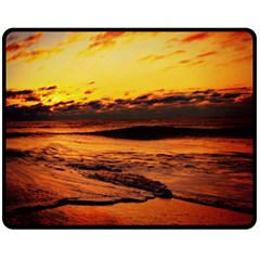 Stunning Sunset On The Beach 2 Double Sided Fleece Blanket (Medium)