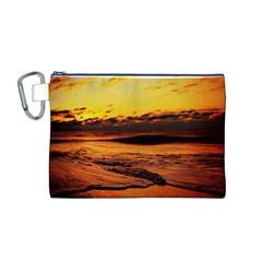 Stunning Sunset On The Beach 2 Canvas Cosmetic Bag (M)