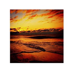 Stunning Sunset On The Beach 2 Small Satin Scarf (square)