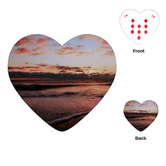 Stunning Sunset On The Beach 3 Playing Cards (heart)