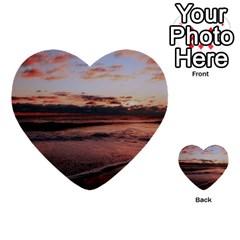 Stunning Sunset On The Beach 3 Multi-purpose Cards (Heart)