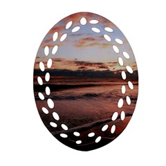 Stunning Sunset On The Beach 3 Oval Filigree Ornament (2-Side)