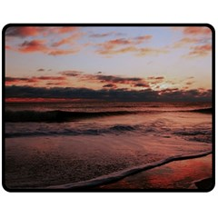 Stunning Sunset On The Beach 3 Double Sided Fleece Blanket (Medium)