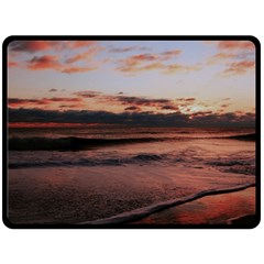 Stunning Sunset On The Beach 3 Double Sided Fleece Blanket (large)